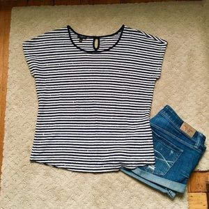 Talbots navy & white striped cap sleeve sequin top